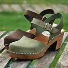 Chaussures fermée bois femme en cuir et talons hauts bois