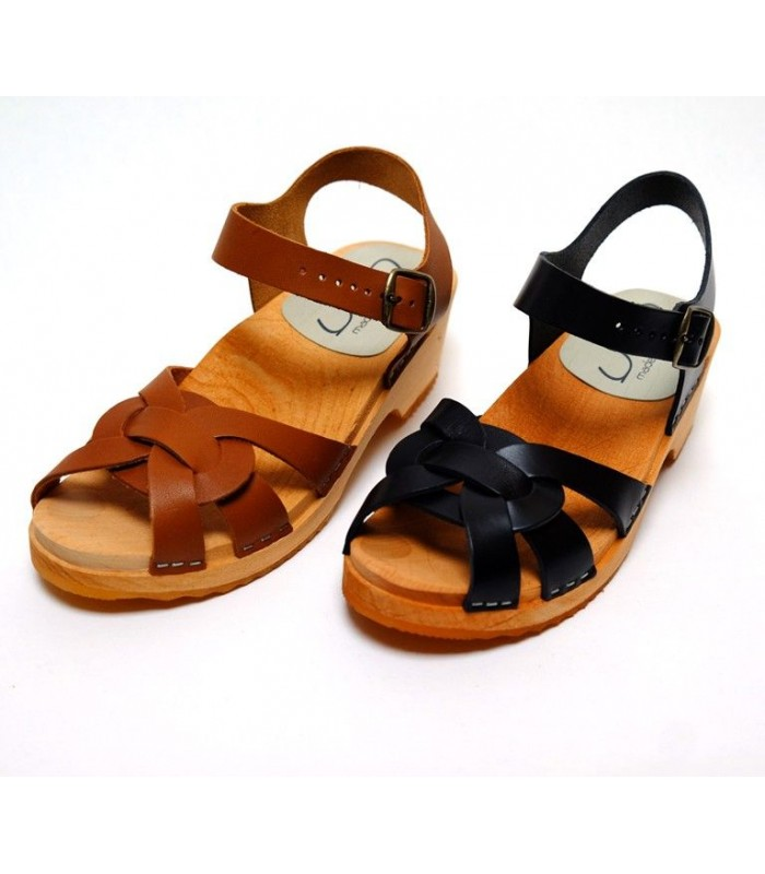 Women's Swedish wooden Sandals flat sole peep toe in vegetal leather