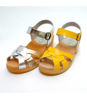 Women's Swedish wooden Sandals flat sole peep toe in yellow or silver leather