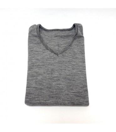 Tee shirt homme en laine et soie gris moucheté