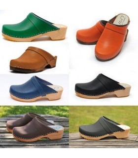 Men's Swedish vegetal leather and nubuck wooden clogs