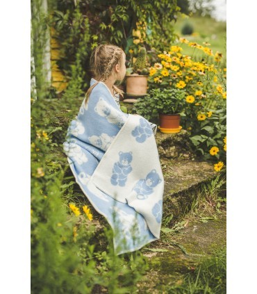 Plaid enfant pure laine vierge motif ourson gris ou bleu