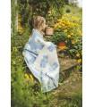 Plaid enfant laine chaude motif ourson gris, beige ou bleu