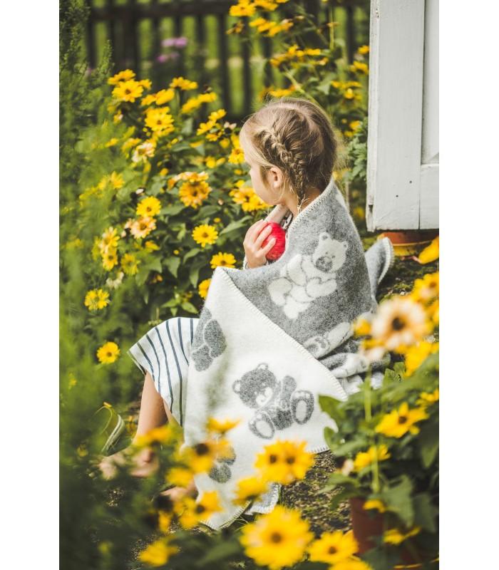 Plaid enfant pure laine vierge gris ou bleu ciel