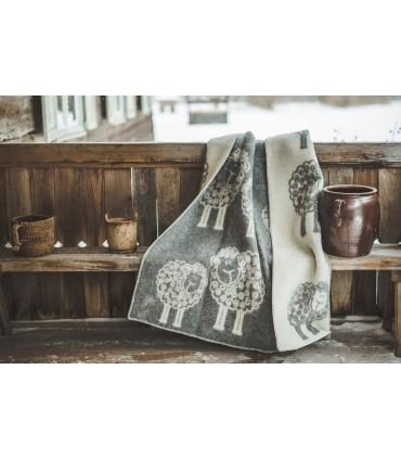 Plaid pure laine vierge motifs moutons beige ou gris
