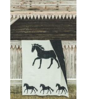 Decken in reiner Schurwolle Pferde Muster