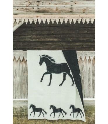 Plaid pure laine vierge motif naif cheval réversible noir écru