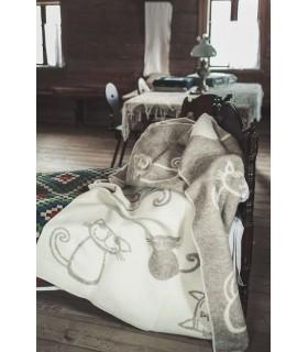 Plaid pure laine vierge motifs chats gris