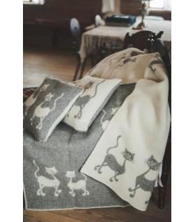 Plaid pure laine vierge motif chat dansant gris