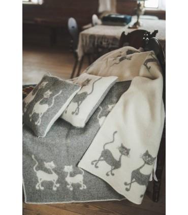 Decken in reiner schurwolle tanzende Katzenmuster grau