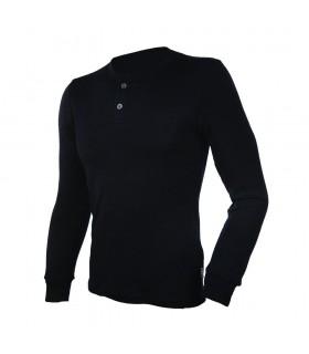 Maillot thermique homme avec boutons pure laine mérinos noir