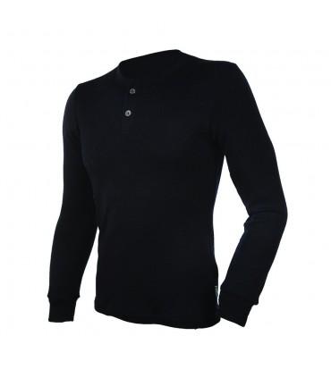 Herren HENLEY shirt reiner Merinowolle mit langen Ärmeln schwarz