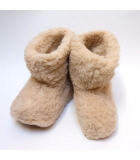 Chaussons chauds en laine beige