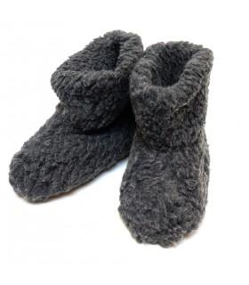 Warme SchurWolle Hausschuhe grau anthrazit