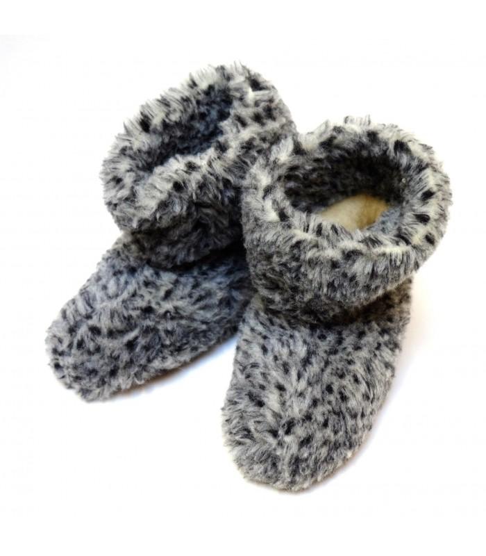 Chaussons chauds en laine gris chiné