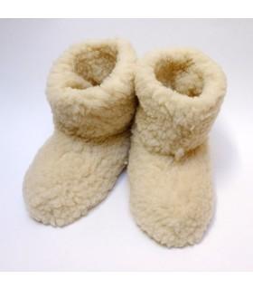 Chaussons chauds en laine écru