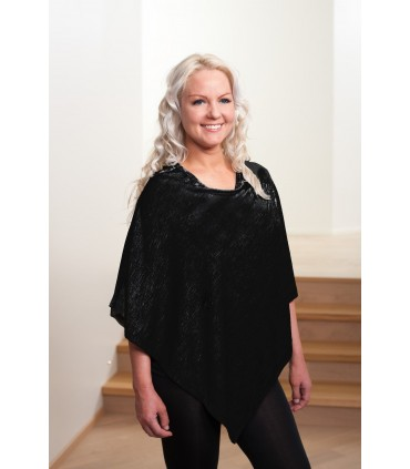 Poncho black wool and silk