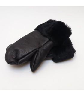 Damen Fäustlinge luxuriös in echte Lammfell schwarz