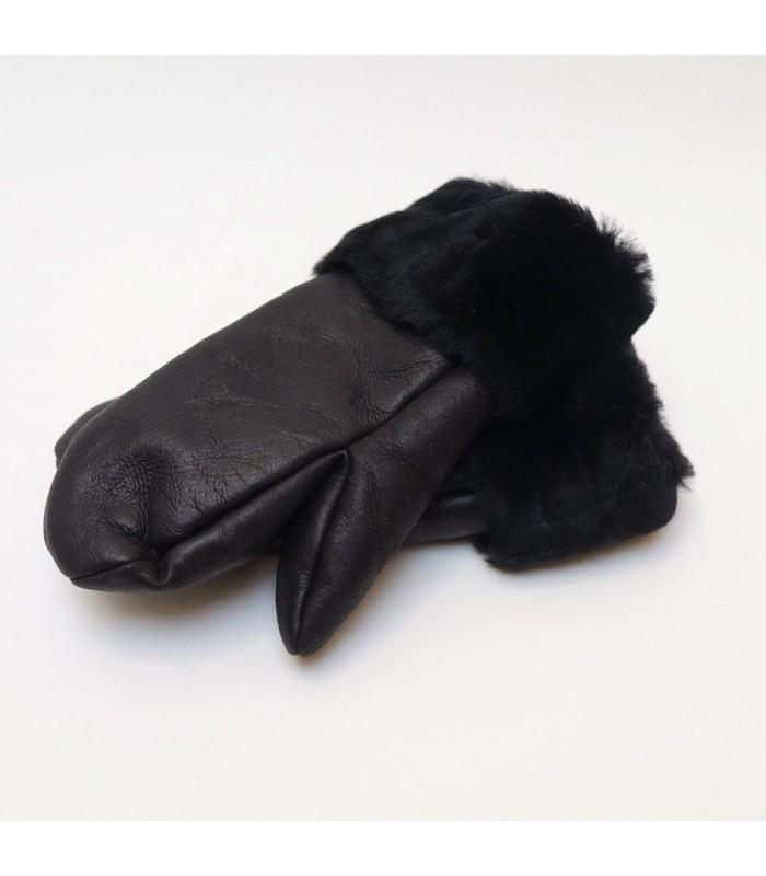 Luxuous women Mittens genuine black lambskin