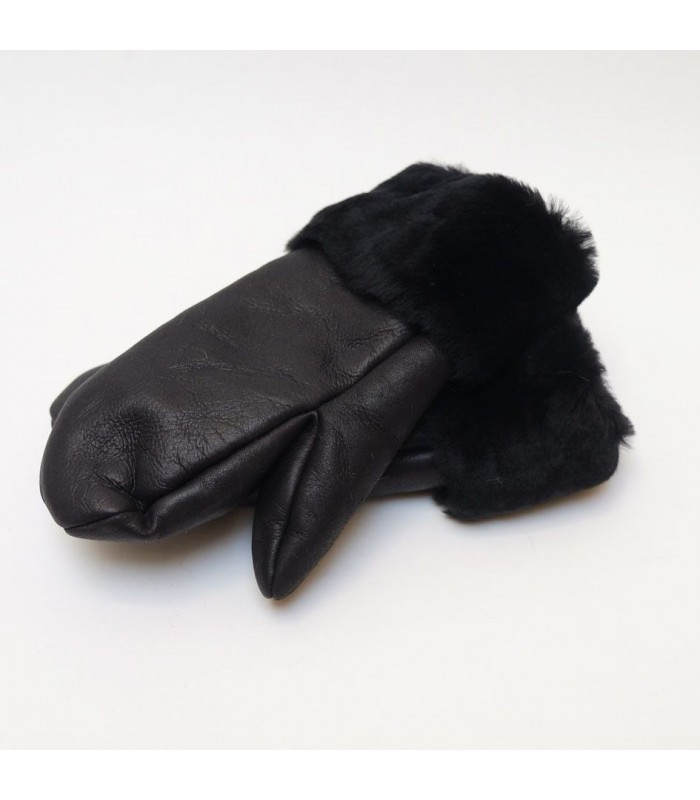 Moufles Femme finition cuir noir revers lisse