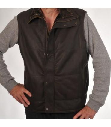 Veste gilet homme en cuir lainé agneau merinos sans manches