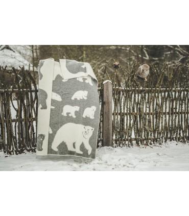 Decken in reiner schurwolle Eisbar grau