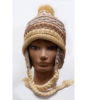 Bonnet péruvien laine tricoté côtes doublé polaire