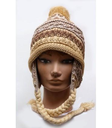 Bonnet péruvien laine tricoté côtes doublé polaire avec pompon