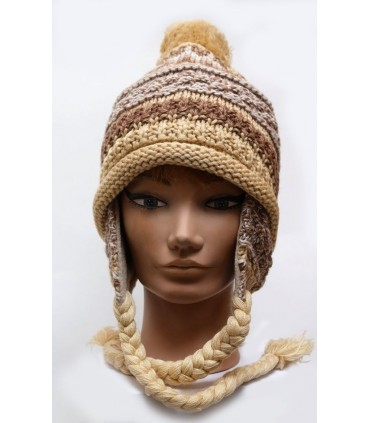 peruvian mottled wool beanie fleece lined