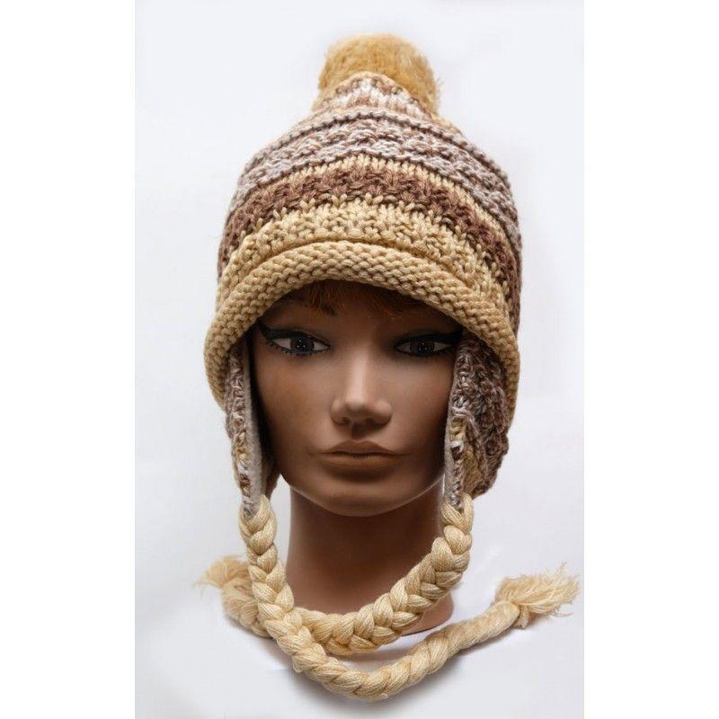 c95e735bbb Bonnet péruvien laine tricoté côtes doublé polaire. Loading zoom