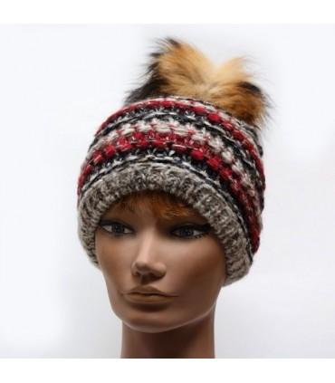 Bonnet laine mohair avec pompon femme