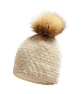 Bonnet femme pure laine mérinos et pompon fourrure ecru
