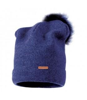Bonnet laine bleu pompon fourrure