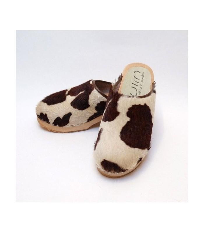 wooden genuine calf hair clogs