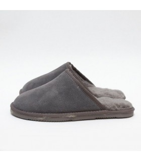 Nordic men's slippers in grey guenuine lambskin