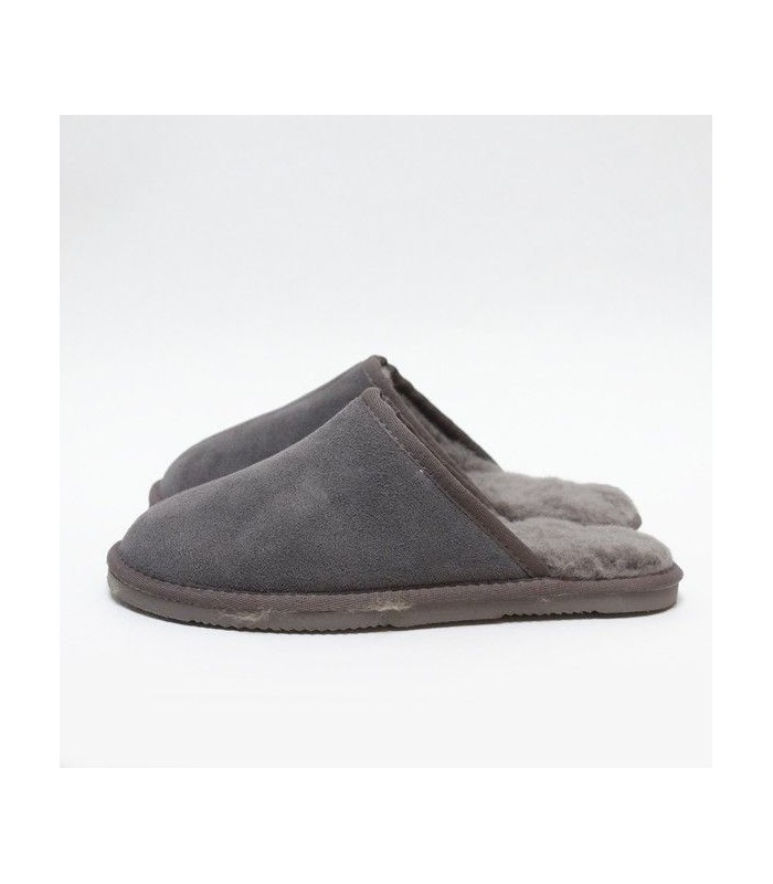 Nordic men's slippers in grey guenuine lambskin