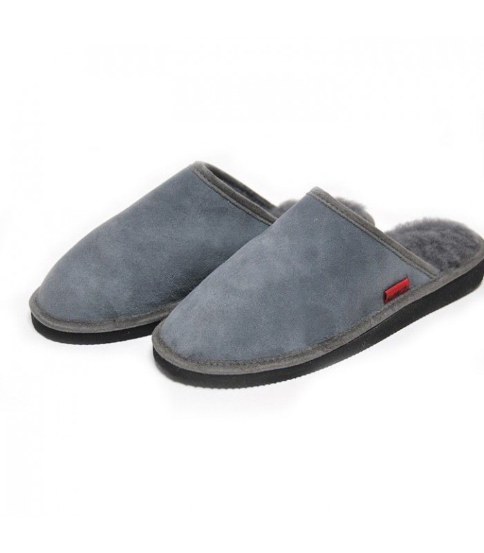 Nordic slippers for men in guenuine lambskin grey