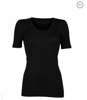 Tee shirt femme manches courtes pure laine mérinos noir