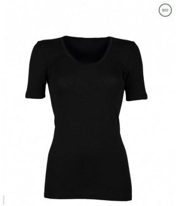 T-shirt mujer camisa manga corta negro de pura lana merino bio