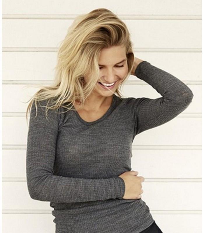 women's rib collar shirt long sleeves in pure grey merino wool