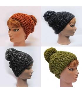 Bonnet laine chinée gros pompon