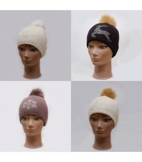 Bonnet femme en laine strass et pompon fourrure