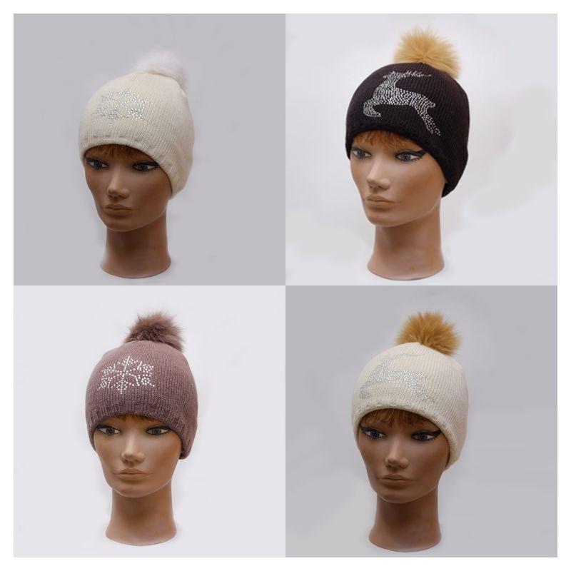 Sombrero de lana mujer blanco o negro con piel verdadera Pompom