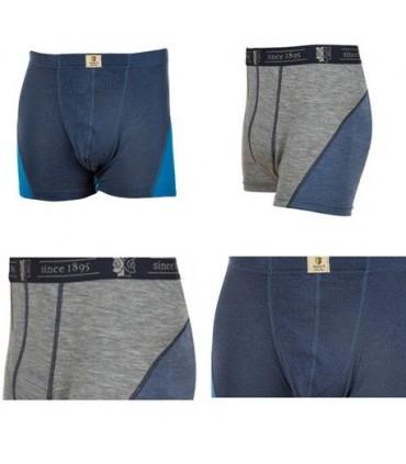 Boxer thermique sport homme en pure laine mérinos gris ou bleu