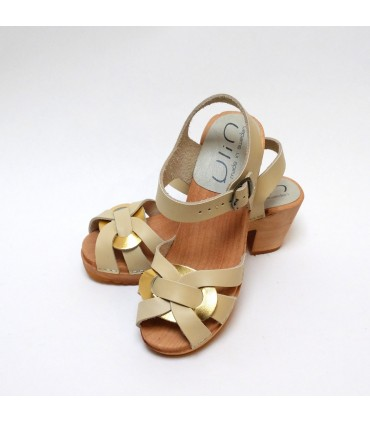 Women high heels Swedish wooden Sandals beige gold leather