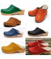 Women's swedish Clogs in  leather vegetal or nubuck leather and wooden sole