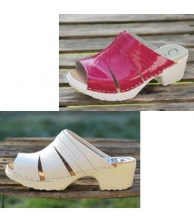 Women heels PU wood Swedish clogs in leather