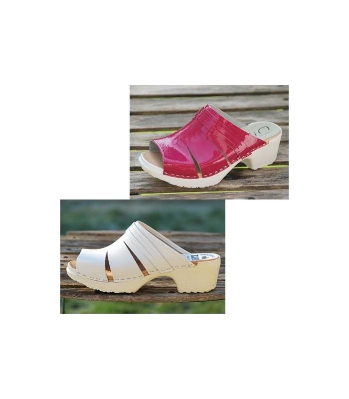 47b4dcf31626d Schwedische Holz PU schuhe Frau 5 cm Absätzen matt oder Lack Leder - Esprit  Nordique