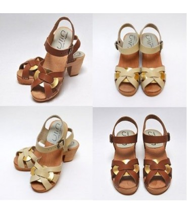 Women high heels Swedish wooden Sandals in vegetal leather