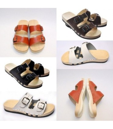 Wooden sandals FLEX leather double buckle
